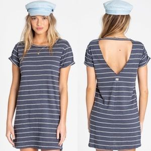 Billabong Coast to Coast Blue Striped Tshirt Dress